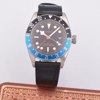 41mm Corgeut Blue and Black GMT Men's Watch Sapphire Automatic Mechanical Watch