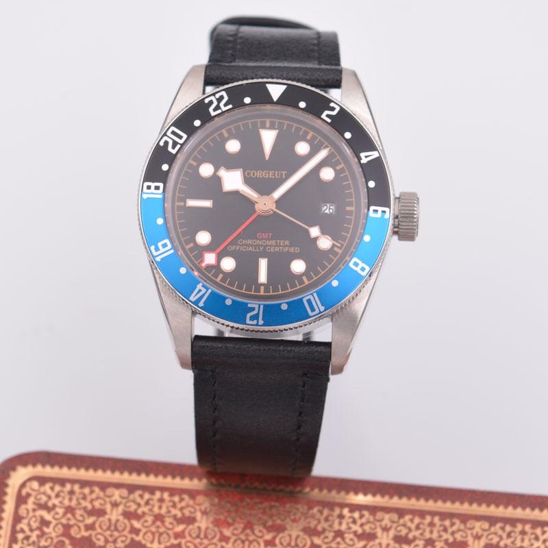 41mm Corgeut Blue and Black GMT Men's Watch Sapphire Automatic Mechanical Watch цена и фото
