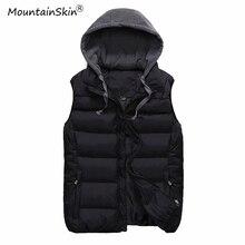 Mountainskin 4XL Для мужчин жилеты с капюшоном Куртки без рукавов Зима Для мужчин Для женщин теплая осень Slim Fit жилет мужской бренд Outerwears LA534