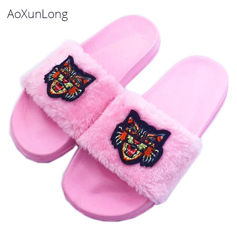 AoXunLong Women Furry Slippers Fashion Embroidered Cat Head Slippers Women Non-slip Home Slippers Pink Slippers EU Size 36-41 thumbnail