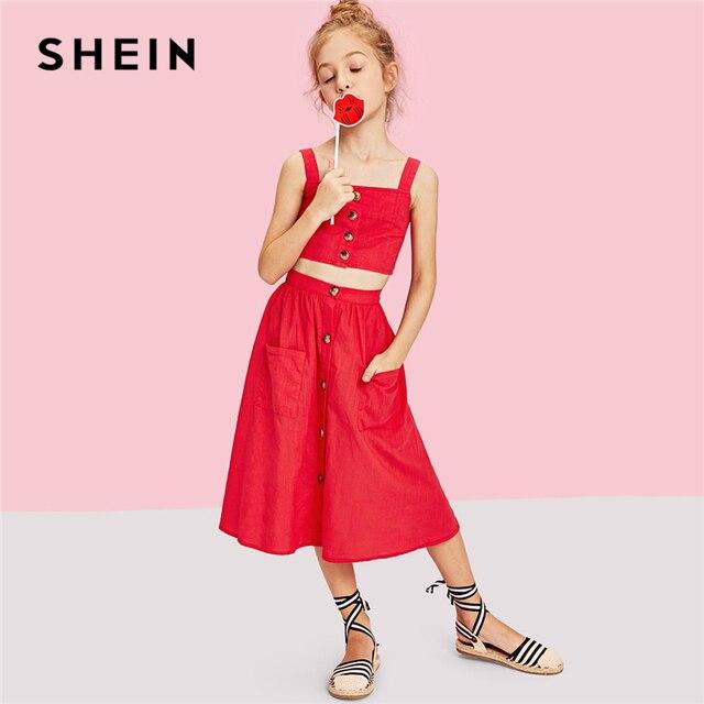 SHEIN Kiddie/красный топ с одной пуговицей и двойная юбка с карманами для девочек 2019 г. летние милые комплекты одежды без рукавов для отдыха
