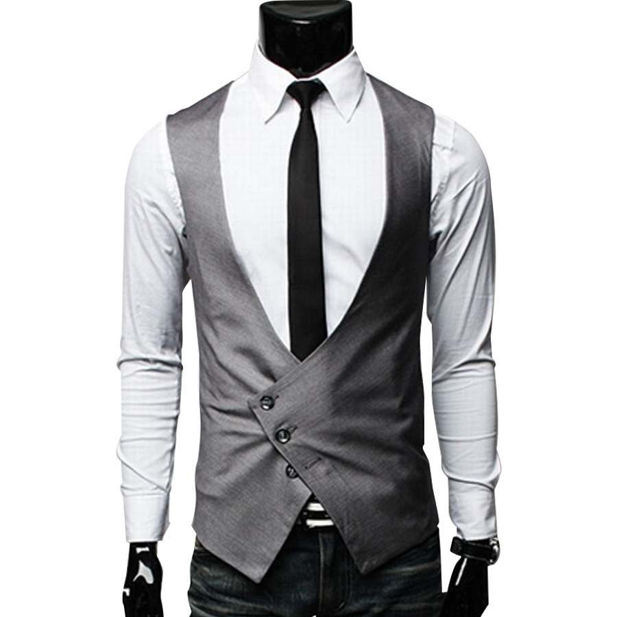 Mens Clothing Fashion Male British Style Slim Colete Masculino Coon Sigle Breasted Sleeveless Jacket Waistcoat Men Suit Vest Meticulous Dyeing Processes Men's Clothing