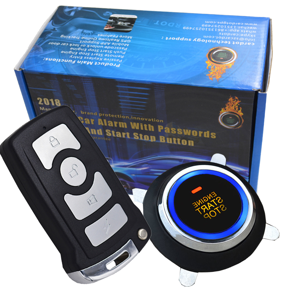 cardot smart car alarm system is with passive auto lock or unlock car door keyless go push button start stop remote start stop