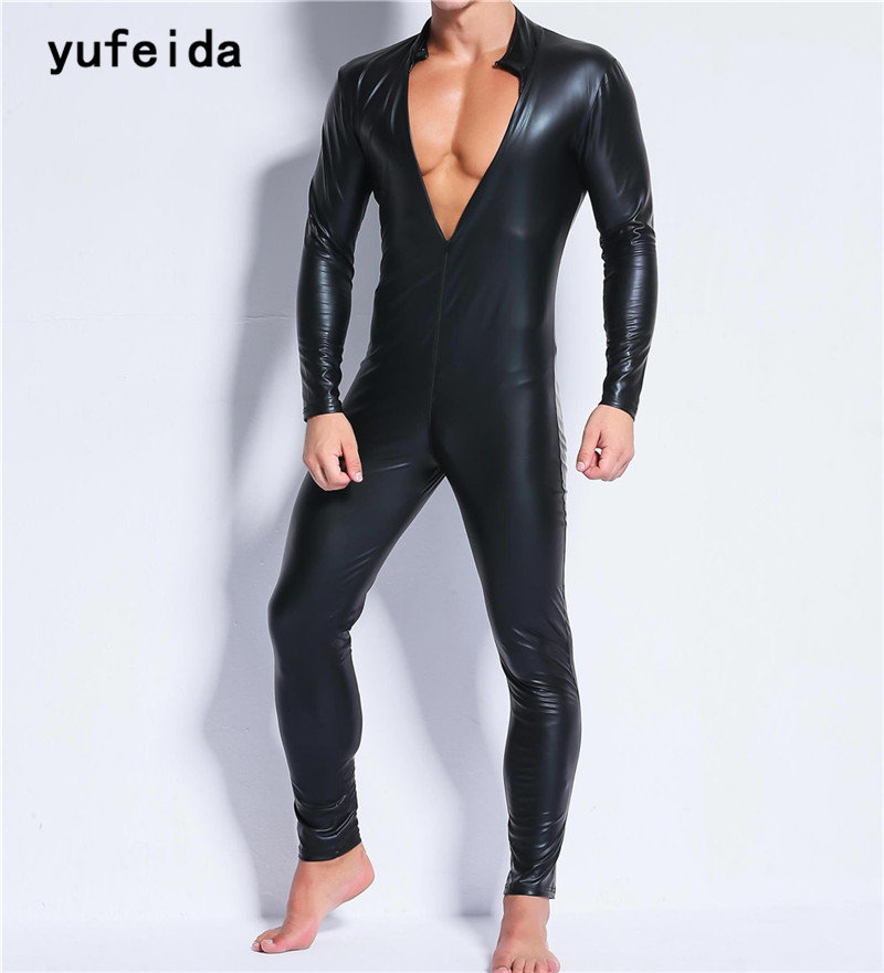 YUFEIDA Men Close-Fitting Faux Leather Jumpsuits Male Black PU Undershirts Men Underwear Zipper Crossover ...