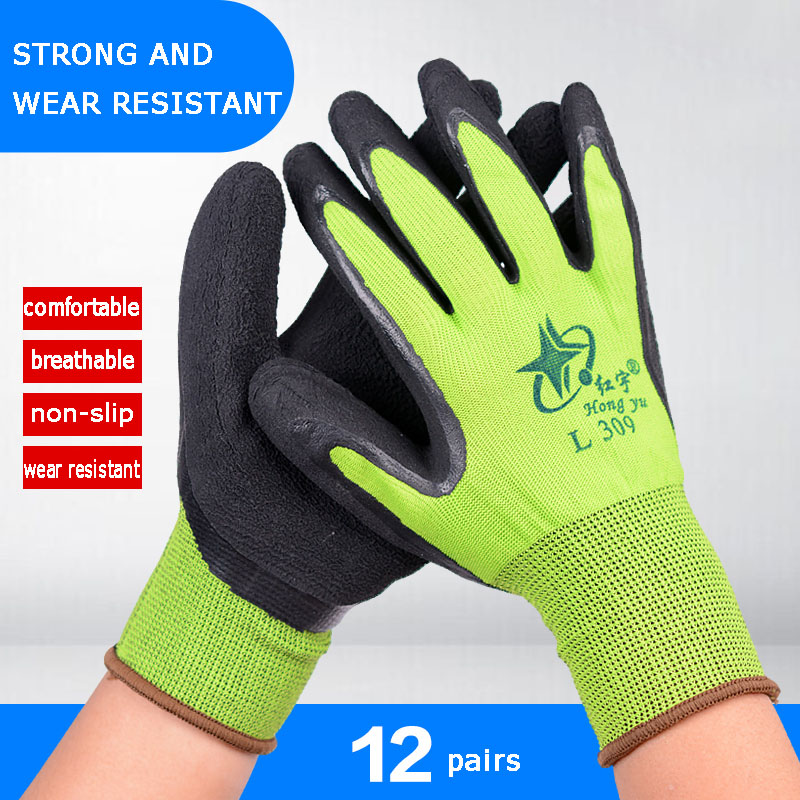 5/12 Pairs Latex Work Gloves Anti-skid Acid Alkali Anti-cut Green Building Construction Materials Labor Protective Gloves5/12 Pairs Latex Work Gloves Anti-skid Acid Alkali Anti-cut Green Building Construction Materials Labor Protective Gloves