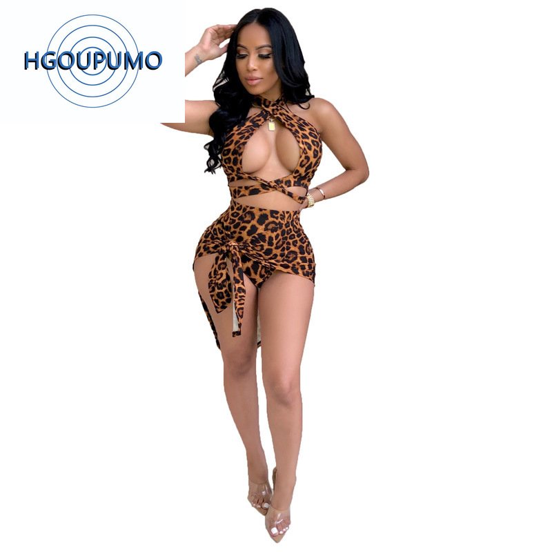 Leopard Print Sexy Two Piece Matching Set Women Halter Backless Crop Top And Bandage Skirts Sweatsuit Summer 2 Piece Club Outfit