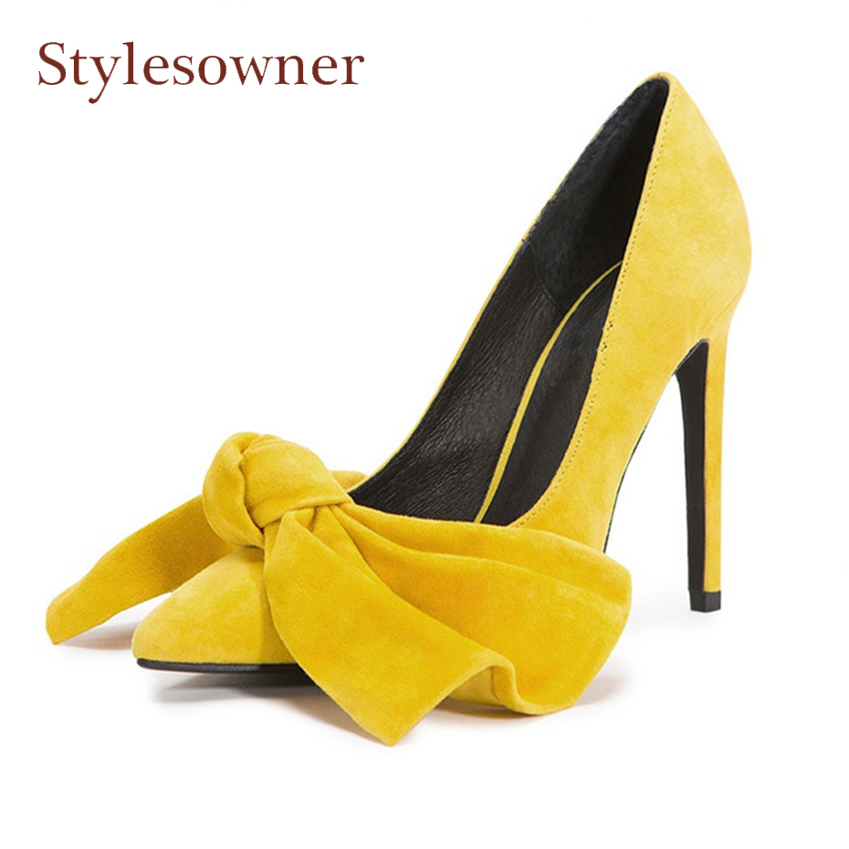 Stylesowner big bowtie women pumps pointed toe thin heel shallow butterfly knot fashion lady party shoes 5cm 7cm 10cm high heel 2017 shoes woman fashion sweet bowtie pointed toe sexy women party shallow mouth side hollow women thin high heel shoes