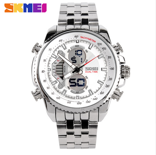 цена Skmei Brand Men Sports Watches Full Steel Watch Male Fashion Quartz Clock LED Waterproof Military Wristwatch Relogio Masculino