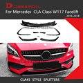 Для CLA Class W117 лицевая сторона передний бампер для губ Canards разветвители для Mercedes Benz тюнинг Передняя губка автомобильный Стайлинг CLA250 CLA220