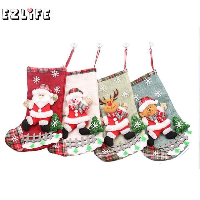 1f920f904 Lovely Large Christmas Stockings Gifts Cloth Santa Elk Socks Xmas Gift  BagFor Children Fireplace Tree Christmas