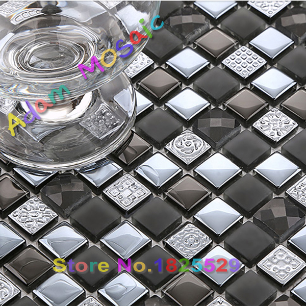 Black Tiles Bathroom Wall Design Mirror Glass Mosaic Tile Kitchen Backsplash Diamond Chips Glossy Building Materials