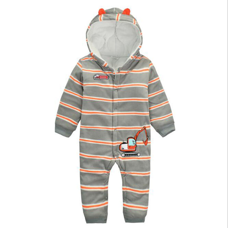 apricot beibei baby Hooded rompers 2017 Autumn and winter cotton newborn long sleeves Jumpsuit 6-24 months kids baby boy Outwear warm thicken baby rompers long sleeve organic cotton autumn