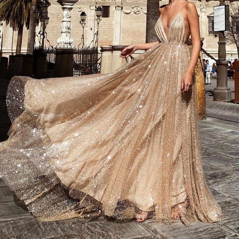 af23999af47 Fashion Ladies sexy V-neck sling dress maxi Sling irregular Hot Summer  dresses long 2019