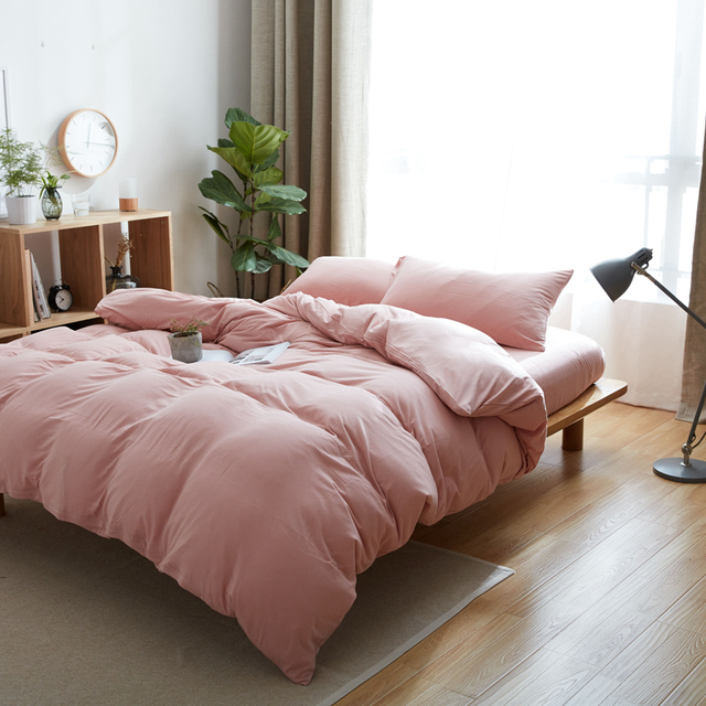 Soft Jersey Knit Bedding Set 4pcs 100 Cotton Knitted Bed Sheets Solid Color Pink Duvet Quilt Covers Sets For S Ed Sheet