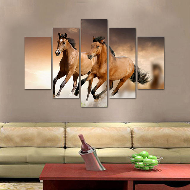 Unframed HD Print 5 Canvas Art Painting Horse Living Room Decoration Spray  Painting Mural Unframed Free