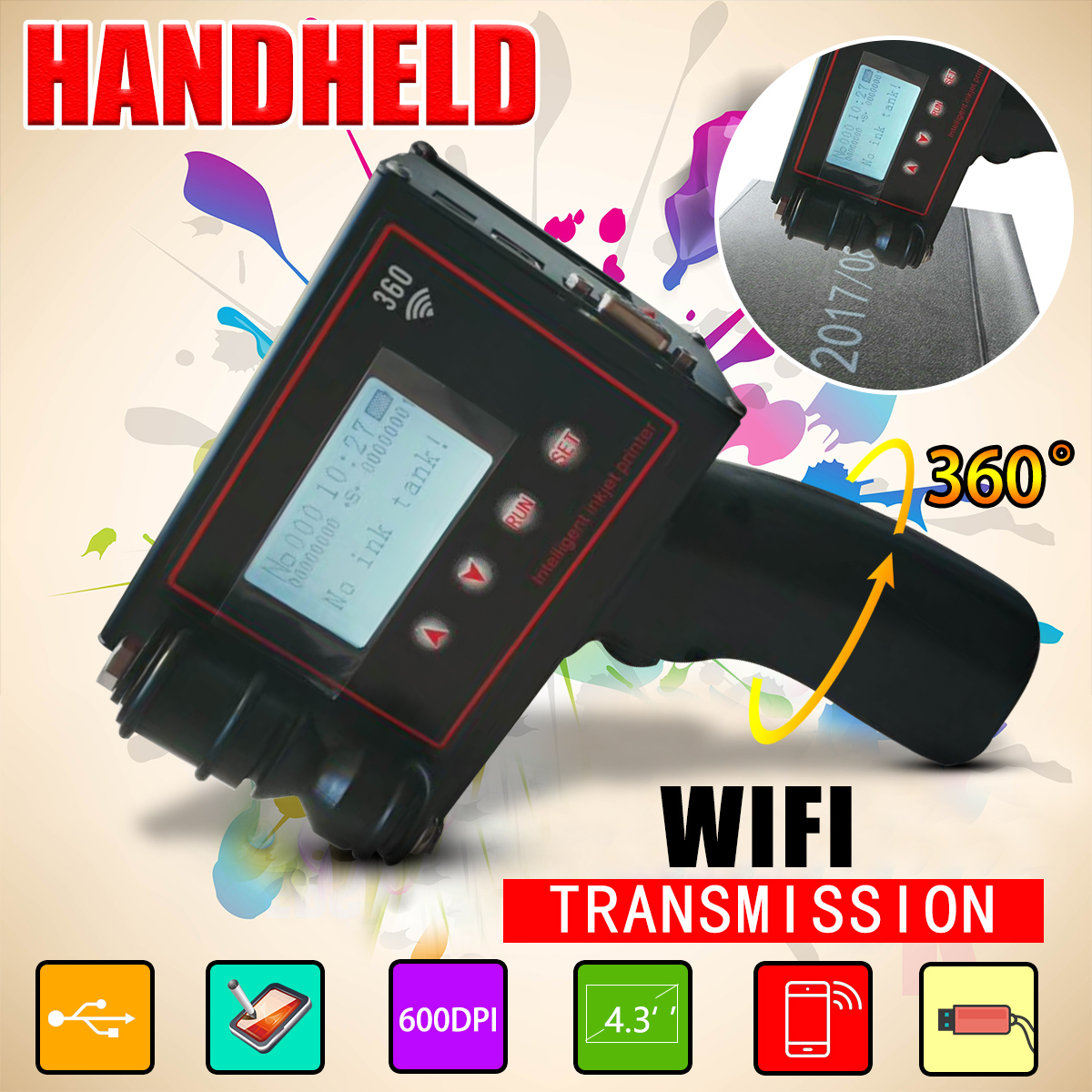 360PLUS HD 600DPI QR Handheld Intelligent WiFi Inkjet Printer Coder Coding Machine For Carton Rubber Metal Expiry Date