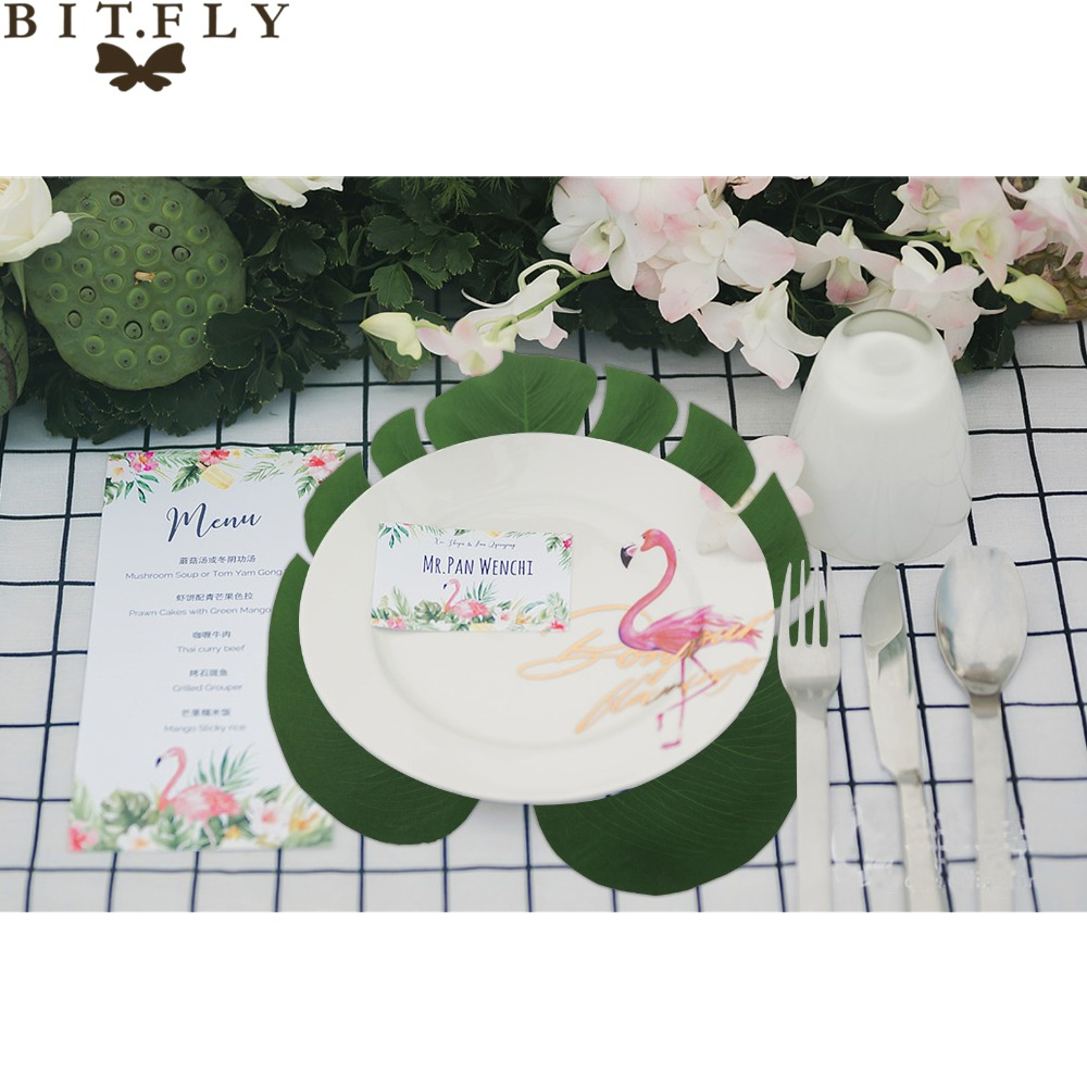 BITFLY 12pcs 35x29cm Artificial Tropical Palm Leaves for Hawaii Luau ...