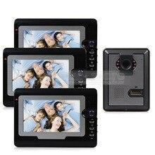 DIYSECUR 7 inch TFT Color LCD Display Video Door Phone Visual Intercom Doorbell Hands Free IR Night Vision 1 Camera 3 Monitor