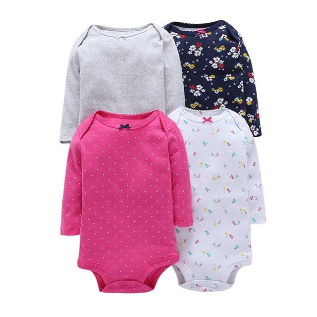 4 יח'\חבילה קיץ תינוקת Bodysuits סט עלה ארוך נקודה אדומה שרוולים ילדה בגדי תינוק התינוק Bodysuits כותנה פרחים שחורים V20
