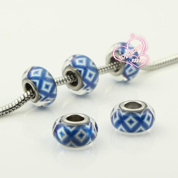 New 20pcs/lot Clear Resin Blue Shuriken Pattern Rondelle European Big Hole Beads For Making Jewelry Charms Bracelet 020274