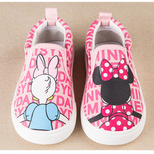 2016 New Super Cute Minnie Cartoon Print Design Princess Girls Shoes Pink Slip On Children Canvas Shoes Toddlers Kids Sneakers