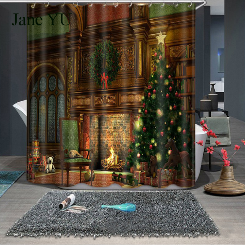 JaneYU Christmas Stamp Shower Curtain 3D Photo Show