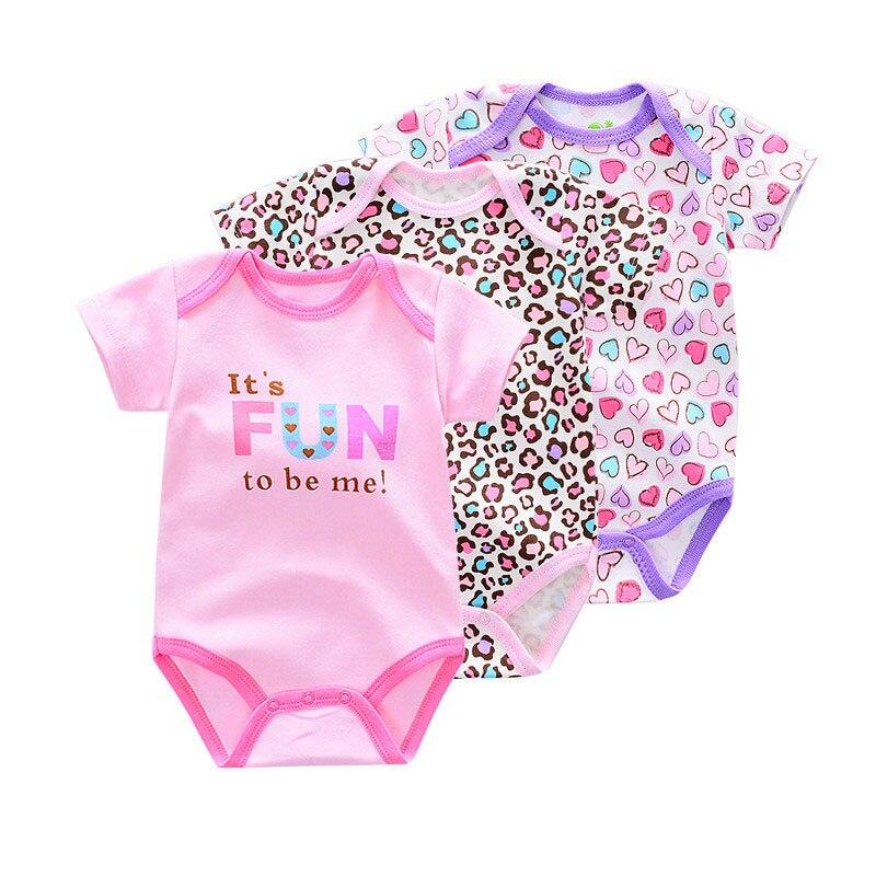 3 Sztuk Bawełna Dziewczynka Pajacyki Maluch Baby Boy Ubrania Roupas - Odzież dla niemowląt - Zdjęcie 2
