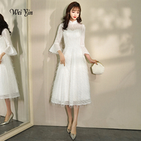 weiyin 2019 Robe De Soiree Lace Short Evening Dresses White Banquet Party Dress High Neck A Line Prom Formal Dress Vestidos