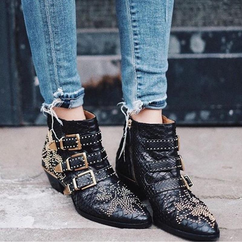 Nouveau Susanna Clouté GenuineLeather Cheville Bottes Femmes Bout Rond Rivet Fleur Martin Bottes Femmes De Luxe Velours Bottes Zapatos Mujer