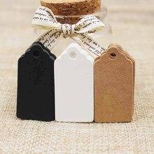 100 adet Kağıt Hediye Etiketleri Kart Beyaz/siyah/kraft Tarak Festivali Düğün Dekorasyon Boş Mini Bagaj Etiketi 2*4 cm