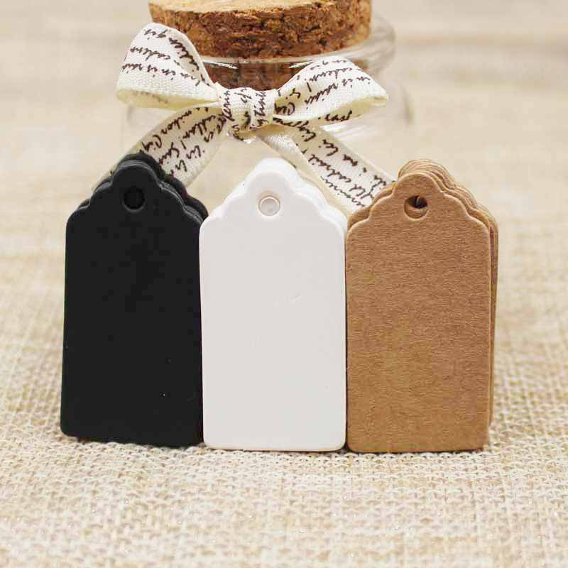 100pcs Paper Gift Tags Card White/black/kraft Scallop Festival Wedding Decoration Blank Mini Luggage Label 2*4cm