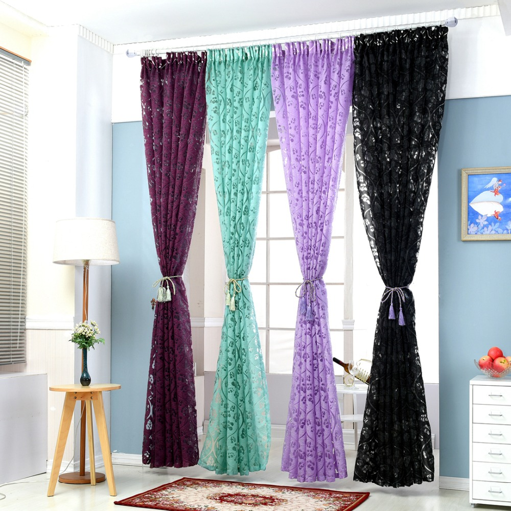 NAPEARL Floral Colorful Curtains For Window Curtain Panel Semi Blackout Kitchen  Curtains Purple Custom Curtain