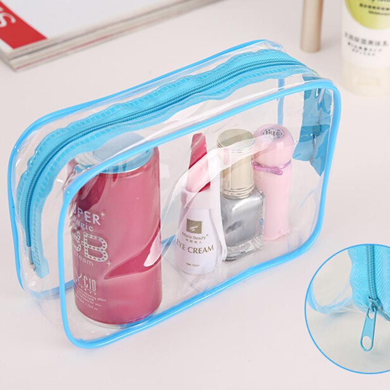 1PC 15*7*10.5cm Clear Travel Makeup Cosmetic Bag Transparent Plastic PVC Bags Toiletry Zip Pouch 3 Colors Women Toiletry Bag