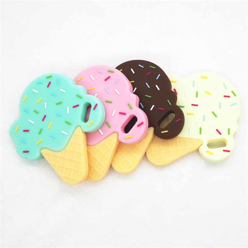 Chenkai 10PCS BPA Free Silicone Ice Cream Teether DIY Newborn Baby Pacifier Nursing Chewing Mommy Jewelry Grib Crafts Toy Gift
