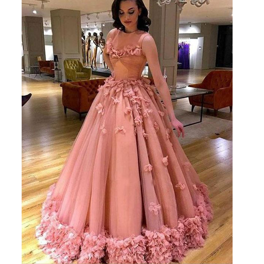 pink   prom     dresses   2019 hand made flowers ball gown   prom   gowns evening   dresses   vestidos de fiesta