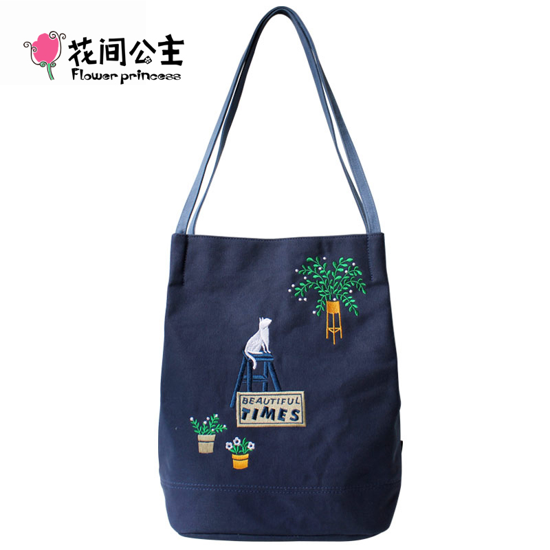 Flower Princess Brand Girls Canvas Shoulder Bags Teenager Girl Cat Embroidery Bucket Bag Handbag Womens bolsos