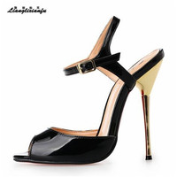 LLXF Plus:45 46 47 48 49 50 Brand Sandals Sexy 14cm Ultra High Metal thin Heels woman Party Dance Shoes Red/Black Buckle Pumps