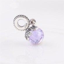 Se adapta a pandora charms pulseras de plata de ley 100% perlas originales de mariposa con lavender crystal mujeres diy joyería de los encantos