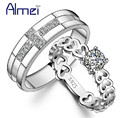 Almei Heart Engagement Ring Women CZ Diamond Jewelry Silver Plated Rings Crystal Bijoux Love Wedding Anel FemininoAlmei J391