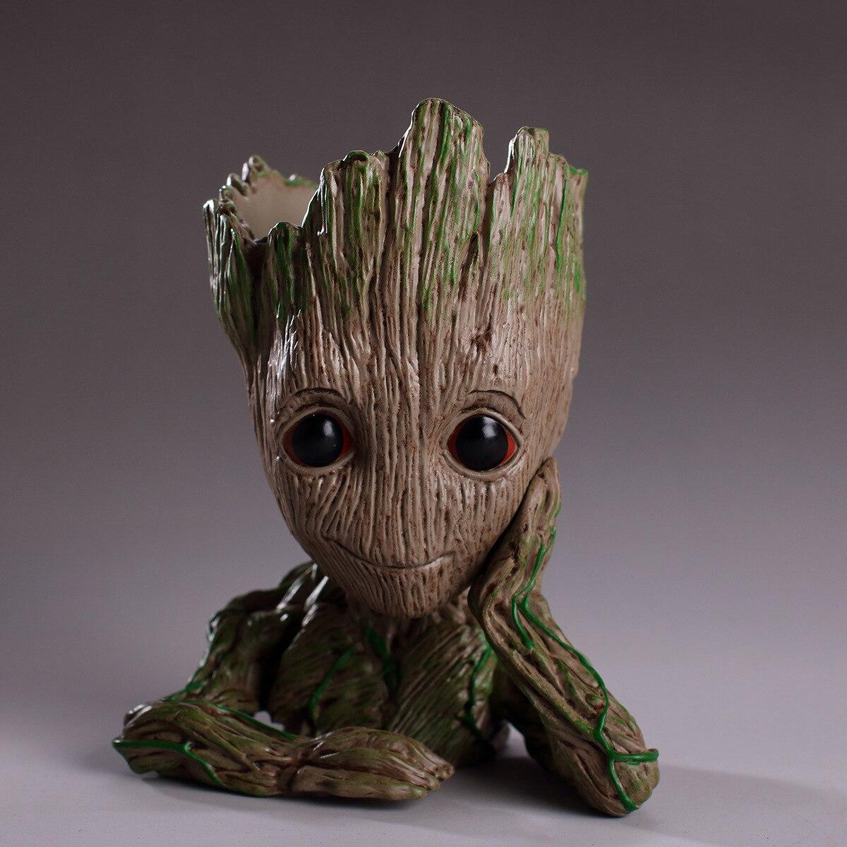 100% QualitäT Kostenloser Versand Ganze Verkauf Animation Guardians Of The Galaxy Blume Topf Baum Groot Baby Kleine Baum Pvc Hand Zu Tun Ornamente GläNzende OberfläChe