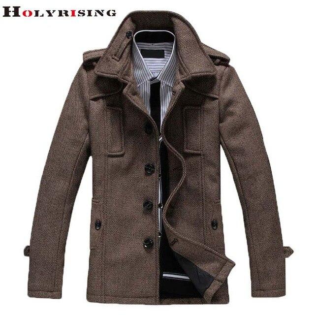 Мода 2017 г. Britsh Стиль Тренч мужчин Тонкий шерстяное пальто Turn Воротник одной кнопки куртки мужские пальто хаки темно-серый M-4XL