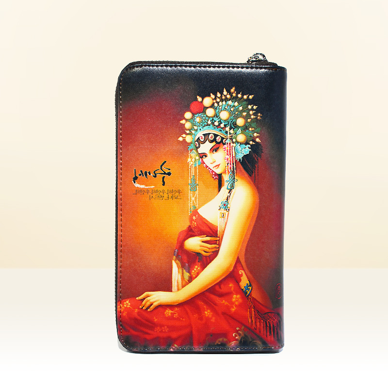 ФОТО 2016 Fashion Women Genuine Leather Chinese Opera Girl Freehand Painting Bag Wallet Card Money Holder Clutch Wallets Phone Pocket