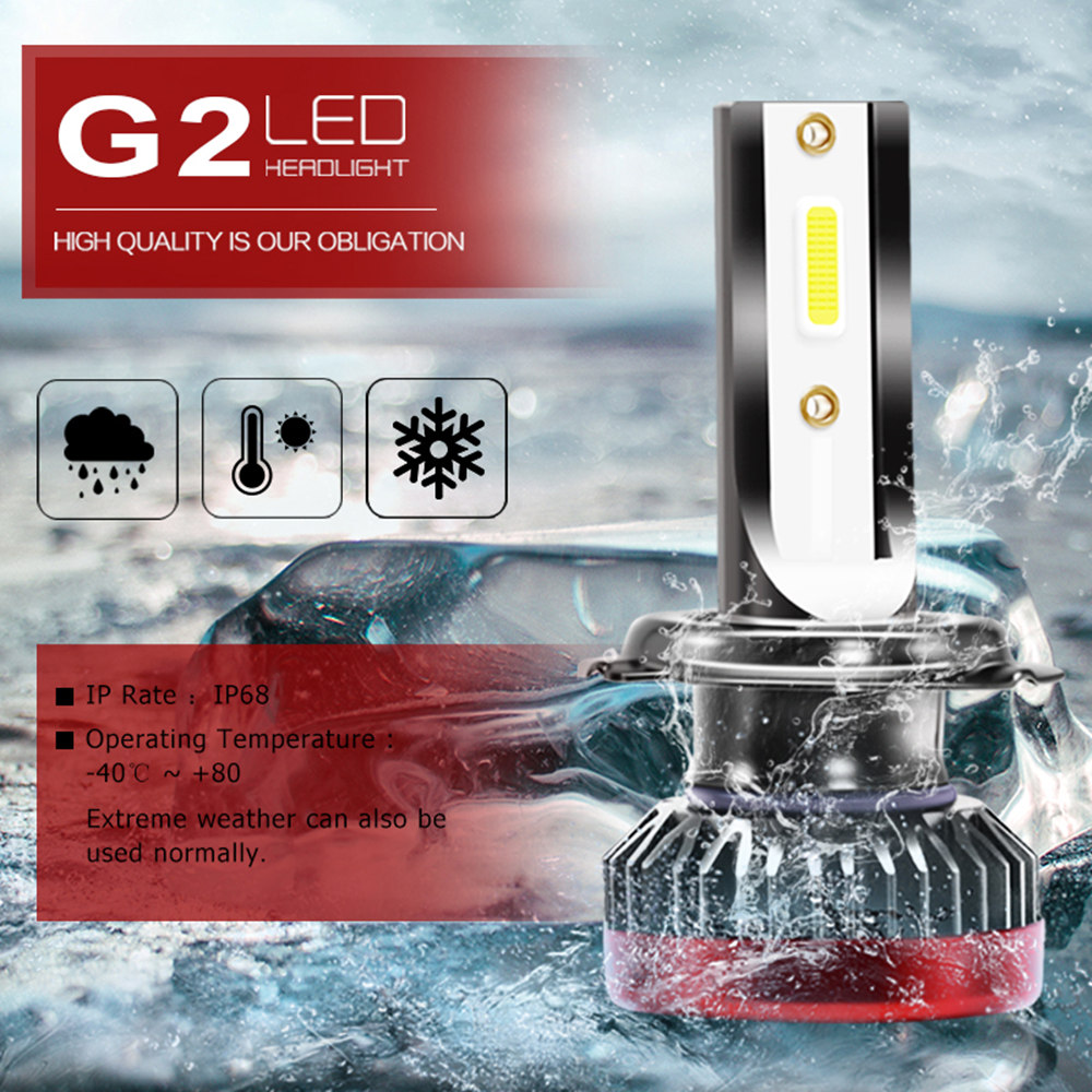 G2 Car MINI LED Headlight Bulbs Kit 160W <font><b>30000LM</b></font> 6000K H1 H3 <font><b>H7</b></font> H8/9/11 9005/HB3/H10 9006/HB4 9012 High/Low Beam Headlight Bulb image