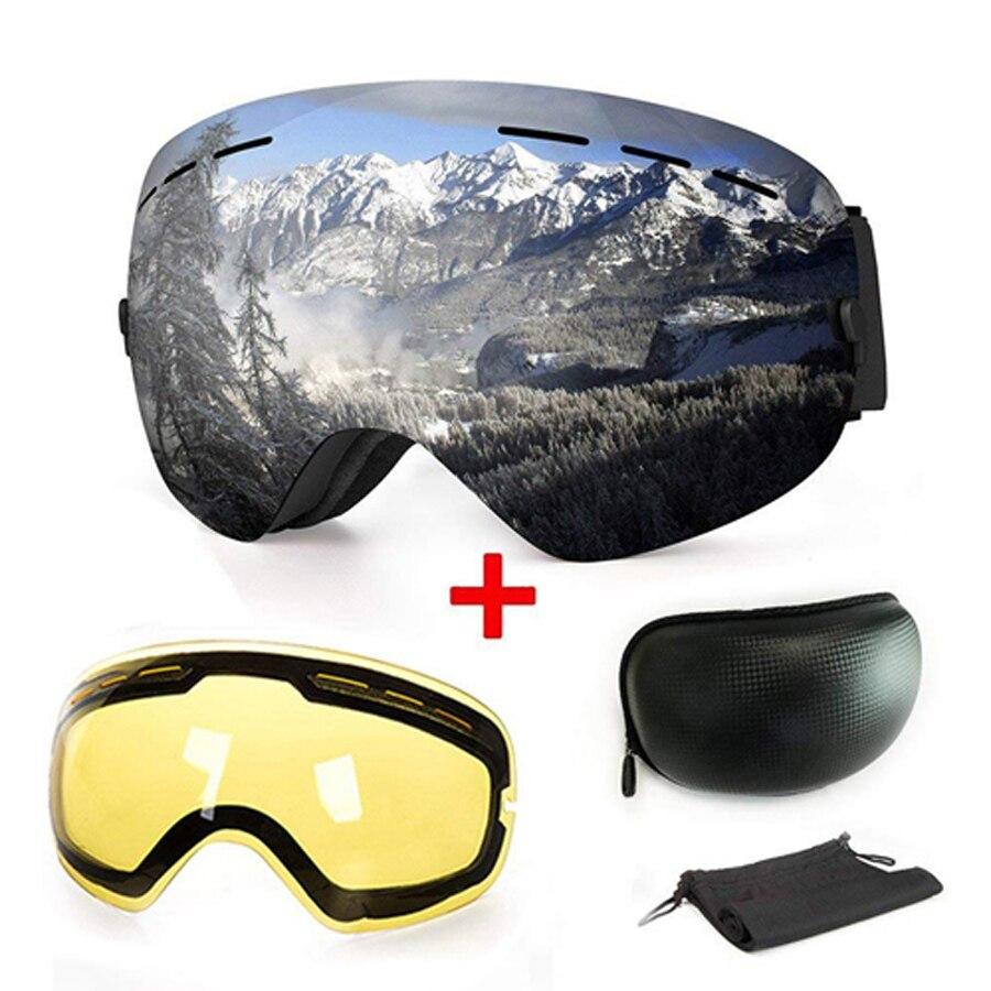 2019 Lunettes de Ski Snowboard Lunettes de Protection Sport Équipement Sphérique Miroir Airsoft Motoneige Coupe-Vent D'hiver Jaune lentille