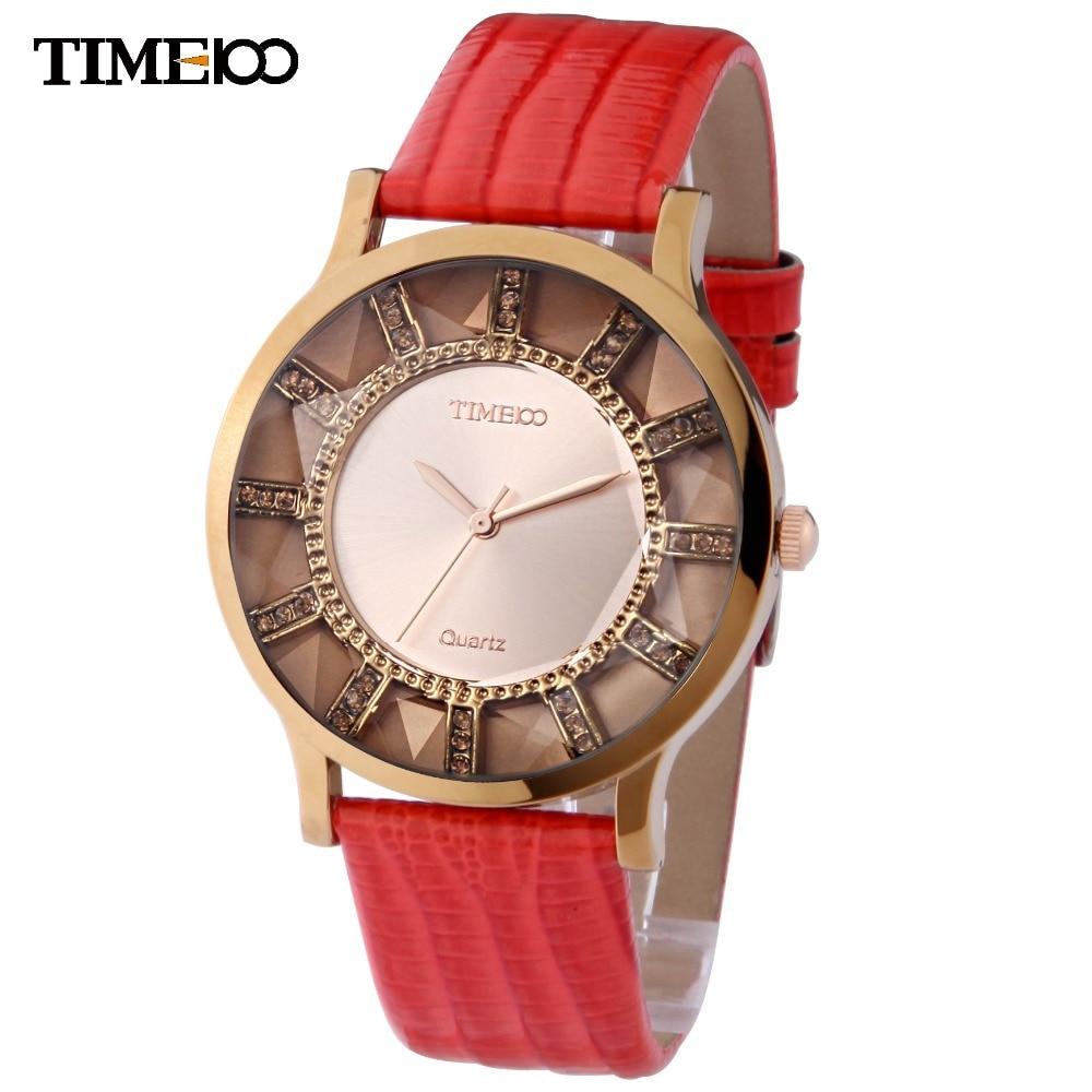 Time100 Brand Retro Fashion Watches Women Quartz Watch Causal Genuine Leather Strap Diamond Dress Wrist Watches relogio feminino