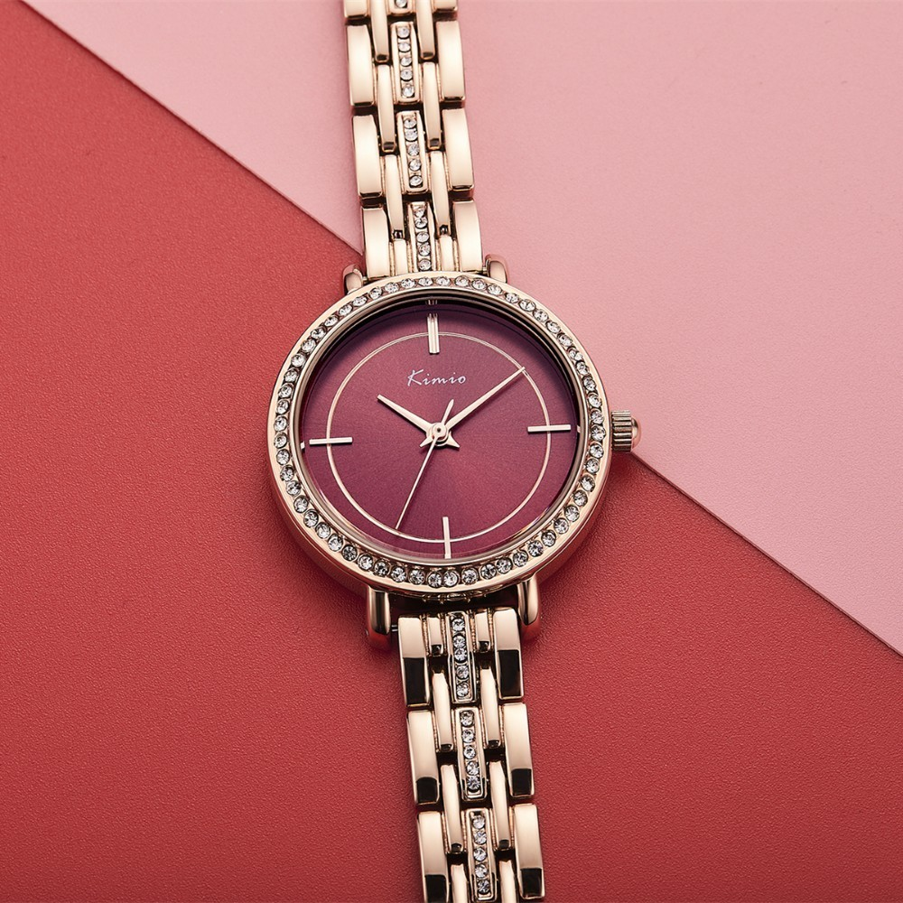 KIMIO Red Big Watch For Women Clock Rose Gold Bracelet Watch Diamond Crystal 2018 Top Luxury Ladies Quartz Watch Brand Female diamond ladies watch waterproof cheetah quartz women watch top luxury brand for girl gifts female elegant clock time
