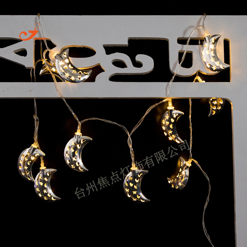 10 lamp Silver Metallic Star Moon Fairy String Lighting Summer Party Decor Christmas indoor Child Favor Bedroom LED Garden light