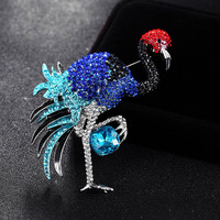 Luxury Brand Rhinestone Cranes Birds Brooches Jewelry For Bridal Accessory Brand Enamel Colorful Hijab Pins Bags