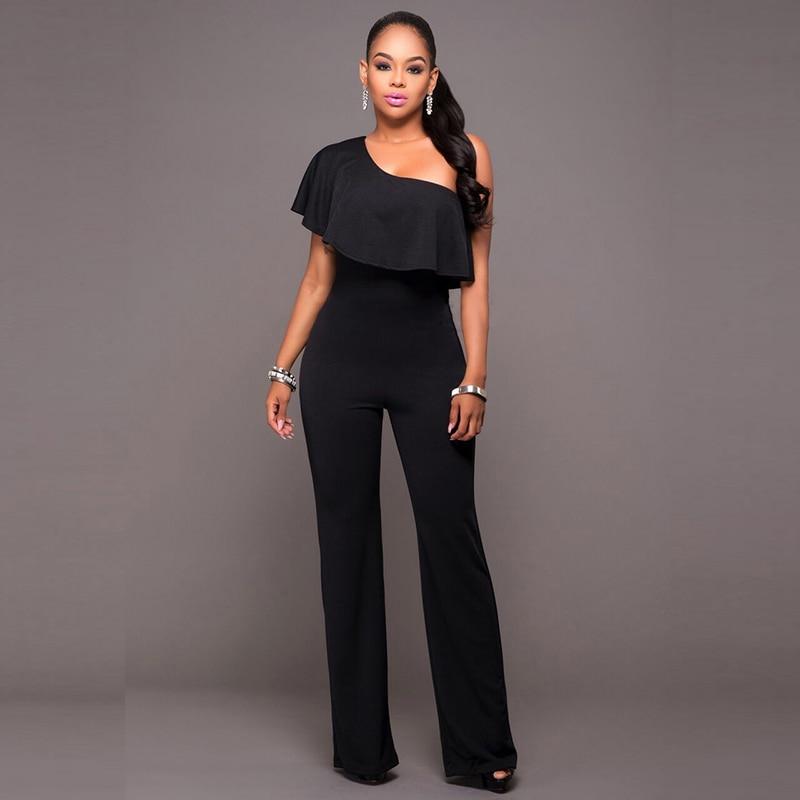 Dream Vine Rompers Womens Jumpsuit Elegant Black One Shoulder Ruffled Pantalon Femme Club Bodycon Wide Legs Bodysuits Overalls