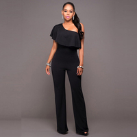 Dream Vine Rompers Womens Jumpsuit Elegant Black One Shoulder Ruffled Pantalon Femme Club Bodycon Wide Legs